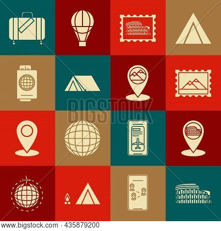 Set Coliseum In Rome, Italy, Map Pointer With, Postal Stamp And Mountains, Tourist Tent, Passport Ti