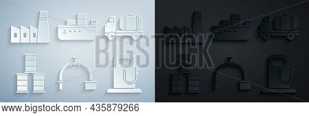 Set Industry Pipe And Valve, Tanker Truck, Barrel Oil, Petrol Or Gas Station, Oil Tanker Ship And In