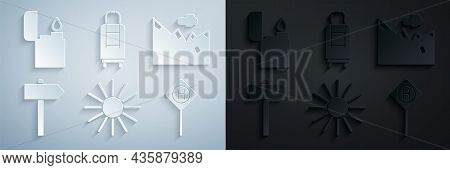 Set Sun, Mountains, Road Traffic Signpost, Parking, Suitcase And Lighter Icon. Vector
