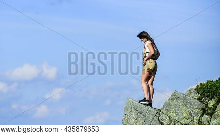 Achieve Success. Way To Success. Jump Into Abyss. Mountain Traveling And Hiking. Climbing Skill. Mou