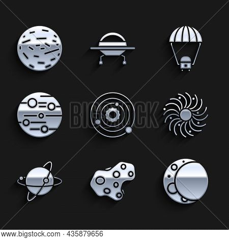 Set Solar System, Asteroid, Moon, Black Hole, Satellites Orbiting The Planet Earth, Planet Mars, Spa