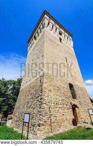 Old Stone Tower At St. Stephen Fortified Church (biserica Fortificata Sf Stefan) In Saschiz Village,