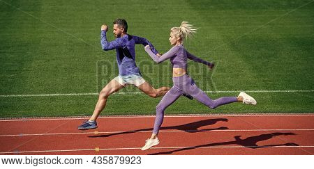 Extreme Workout. Sport Couple Run Fast To Win. Successful Fitness Sprinters. Athletic Man And Sexy W