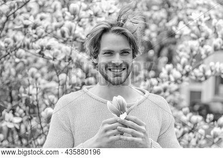 Wow. Spring Fashion Style. Male Sexuality. Sakura Background. Enjoy Good Weather. Sexy Guy Blooming