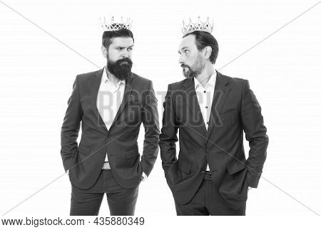 Company Kingdom. Share Power And Authority. Handsome King. Business King. Businessman Wear Crown. Su