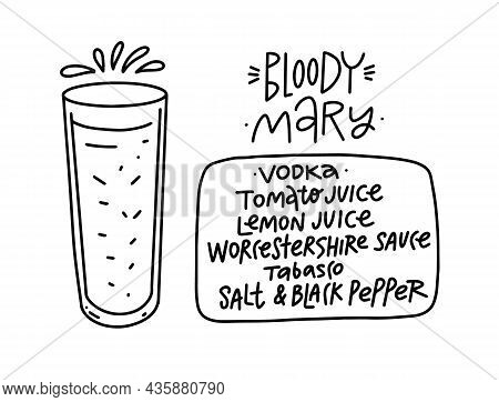 Bloody Mary Cocktail. Hand Drawn Black Color Outline Style.