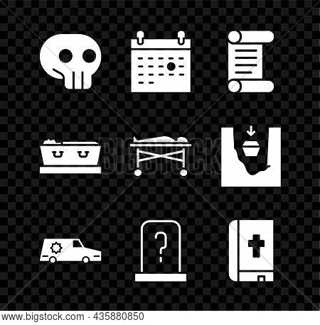 Set Skull, Calendar Death, Decree, Parchment, Scroll, Hearse Car, Grave With Tombstone, Holy Bible B