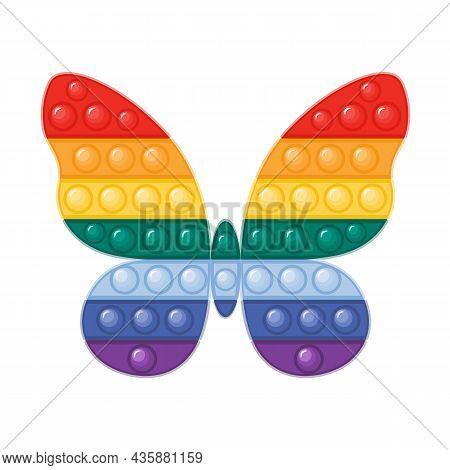 Trendy Antistress Pop It Fidget Toy In Rainbow Colors Flat Vector Illustration. Butterfly Shaped Sen