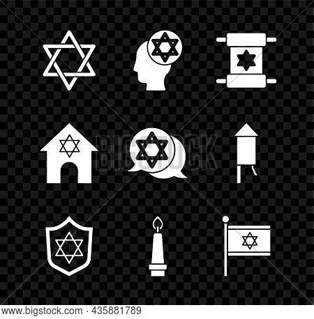 Set Star Of David, Orthodox Jewish Hat, Torah Scroll, Shield With, Burning Candle, Flag Israel, Jewi