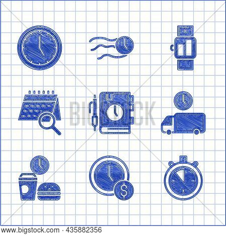 Set Daily Paper Notepad, Time Is Money, Stopwatch, Delivery Time, Fast Food, Calendar Search, Smartw