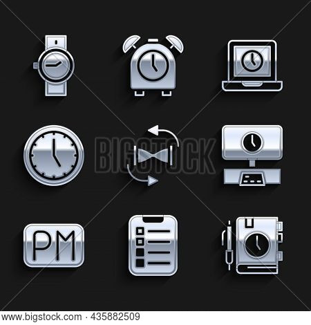 Set Old Hourglass With Sand, To Do List Or Planning, Daily Paper Notepad, Smart Tv Time, Day, Clock,