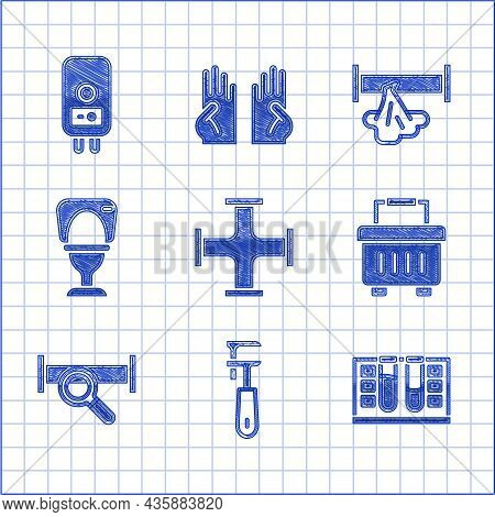 Set Industry Metallic Pipe, Pipe Adjustable Wrench, Test Tube With Water Drop, Toolbox, Toilet Bowl,