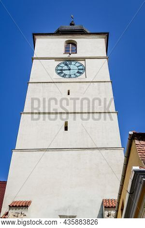 The Council Tower (turnul Sfatului) Towards Clear Blue Sky  In The Old City Center Of Sibiu, In Tran