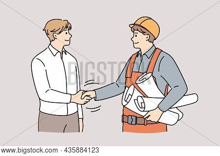 Cooperation Between Management And Engineering Concept. Young Smiling Men Engineer Constructor And M