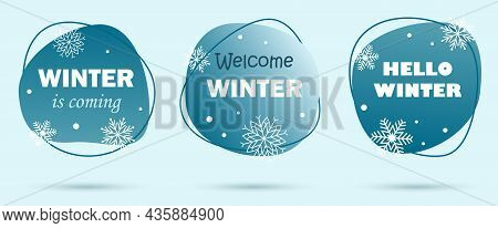 Vector Design Set Of Banners For Winter Season. Bright Winter Snoflakes. Collection For Seasonal Tem