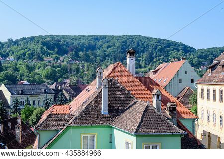 Landscape With View Over Houses Of Sighisoara City, In Transylvania (transilvania) Region Of Romania