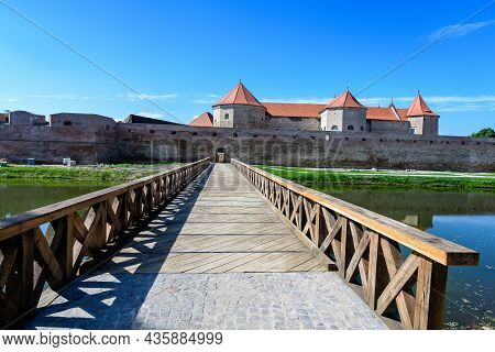 Large Wooden Bridge At The Entry Into The Historical Buildings Of Fagaras Fortress (cetatea Fagaras)