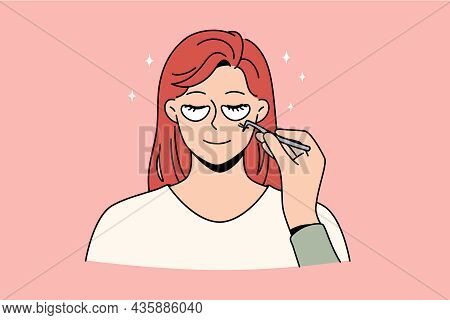 Skincare And Beauty Treatment Concept. Face Of Young Smiling Woman With Patches Below Eyes And Cosme