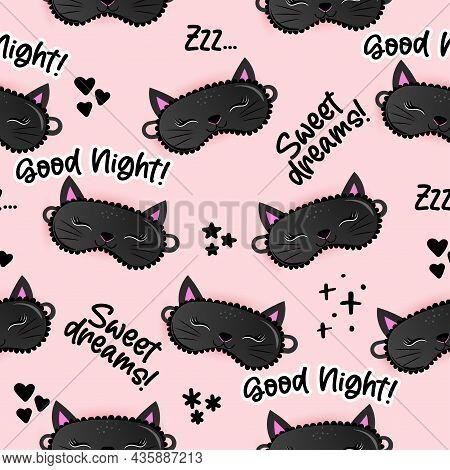 Sleeping Mask Black Cat Lashes Pattern With Good Night, Sweet Dreams And Zzz... Text - Funny Doodle,