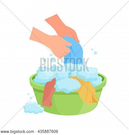 Vector Illustration Washing Washing Clothes By Hands In Basin With Soap Foam Isolated On White Backg