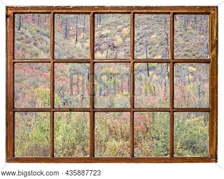 tapestry of shrubs in fall colors and burned forest on slopes in northern Colorado as seen from a vintage sash window
