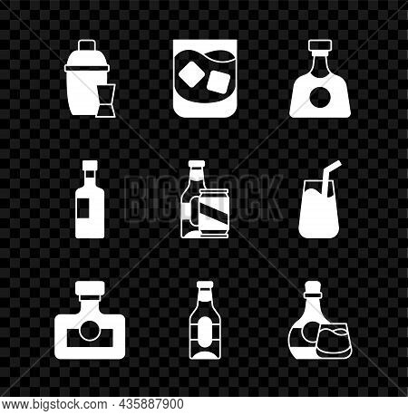 Set Cocktail Shaker, Glass Of Whiskey, Tequila Bottle, Alcohol Drink Rum, Beer, Whiskey And Glass, W