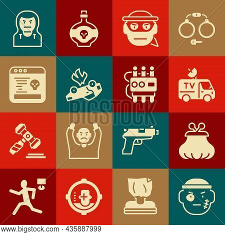 Set Bandit, Wallet, Tv News Car, Burning, System Bug, Thief Mask And Dynamite Timer Clock Icon. Vect
