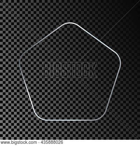 Silver Glowing Rounded Pentagon Shape Frame Isolated On Dark Transparent Background. Shiny Frame Wit