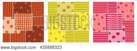 Patchwork Seamless Pattern. Stripes, A Cage, Flowers And Peas. Ornaments In Bright Colors. Vector Il