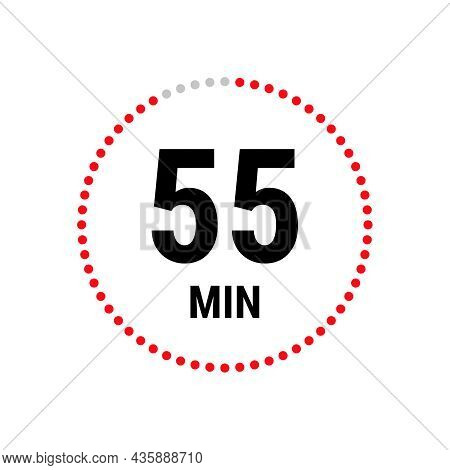 55 Minute Vector Icon, Stopwatch Symbol, Countdown. Isolated Illustration With Timer.