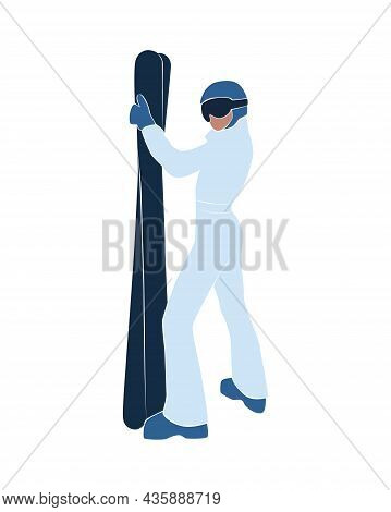 Faceless Abstract Woman In Ski. Winter Holiday Activities. Female In Winter Stylish Outfit. Modern V