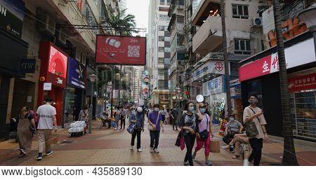 Causeway Bay, Hong Kong, 14 May 2021: Hong Kong city street