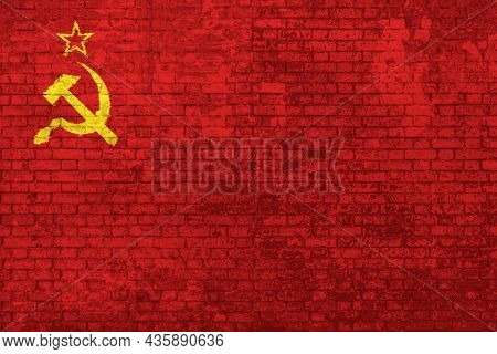 Wall Of Bricks Painted With The Flag Of The Old Soviet Union, Adopted From 12 November 1923 To 15 Au