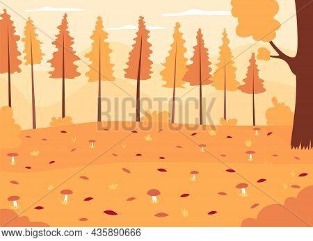 Autumn Woods Flat Color Vector Illustration. Seasonal Landscape With Growing Mushrooms. Panoramic Au
