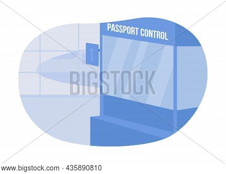 Document Control In Airport 2d Vector Isolated Illustration. Stand For Checking Documents. Airplane