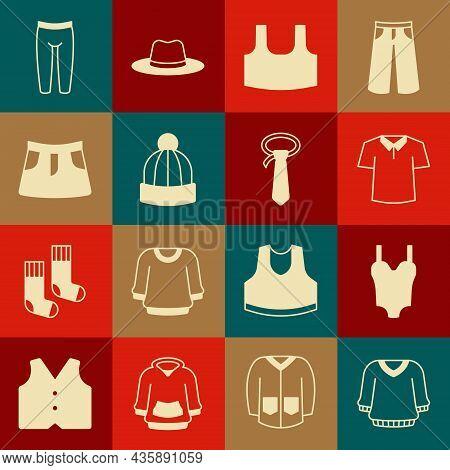 Set Sweater, Swimsuit, Shirt, Undershirt, Winter Hat, Skirt, Leggings And Tie Icon. Vector