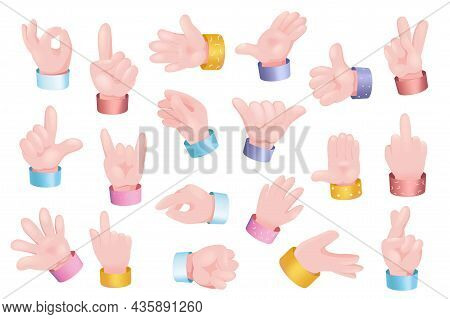 Gesturing Hands Set Graphic Concept. Human Hands Showing Different Signs - Ok, Like, Call, Thumb Up,