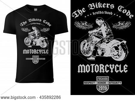 Black T-shirt Design With Motorcyclist And Inscriptions - Graphic Design For Printmaking T-shirt Or