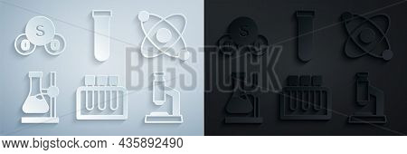 Set Test Tube, Atom, Flask On Stand, Microscope, And Sulfur Dioxide So2 Icon. Vector