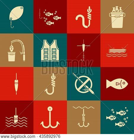 Set Fish, Fishing Boat With Fishing Rod On Water, Hook And Worm, Jacket, Spoon And Float Icon. Vecto