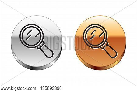 Black Line Magnifying Glass Icon Isolated On White Background. Search, Focus, Zoom, Business Symbol.