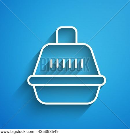White Line Pet Carry Case Icon Isolated On Blue Background. Carrier For Animals, Dog And Cat. Contai