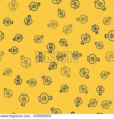 Blue Line Pet Shampoo Icon Isolated Seamless Pattern On Yellow Background. Pets Care Sign. Dog Clean