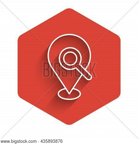 White Line Search Location Icon Isolated With Long Shadow. Magnifying Glass With Pointer Sign. Red H