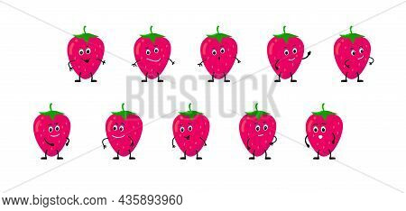 Strawberry Berry Smiles, Rejoices, Is Sad, Is Angry, Is Surprised, Is Angry. Collection Isolated