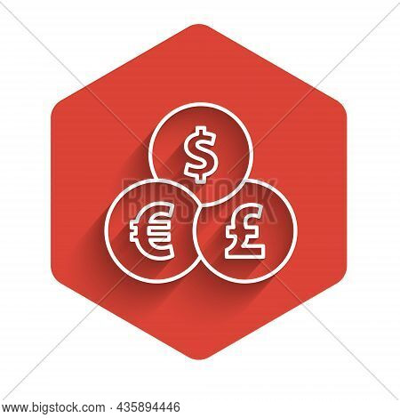 White Line Currency Exchange Icon Isolated With Long Shadow. Cash Transfer Symbol. Banking Currency