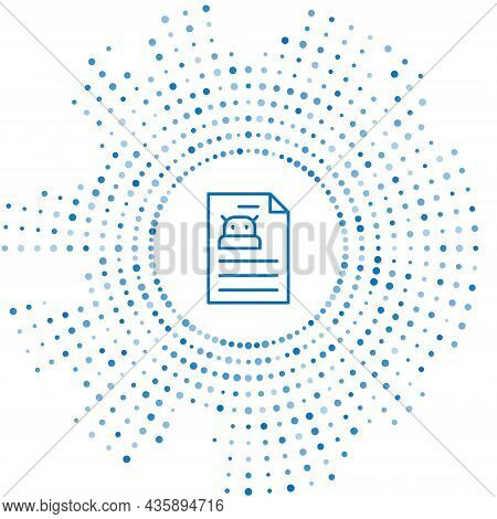 Blue Line Technical Specification Icon Isolated On White Background. Technical Support Check List, T