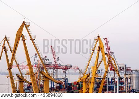 Trade Port. Shipping Cargo To Harbor. Water International Transport. International Transportation. C
