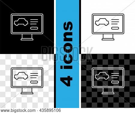 Set Line Hardware Diagnostics Condition Of Car Icon Isolated On Black And White, Transparent Backgro