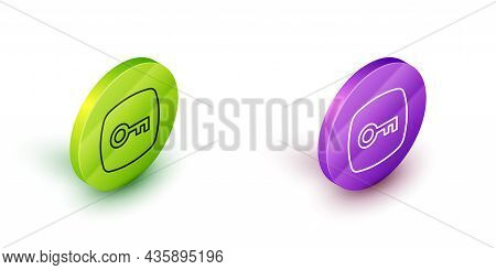 Isometric Line Key Icon Isolated On White Background. Green And Purple Circle Buttons. Vector
